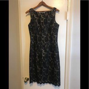 Ann Taylor Black and Tan Lace Sheath Dress